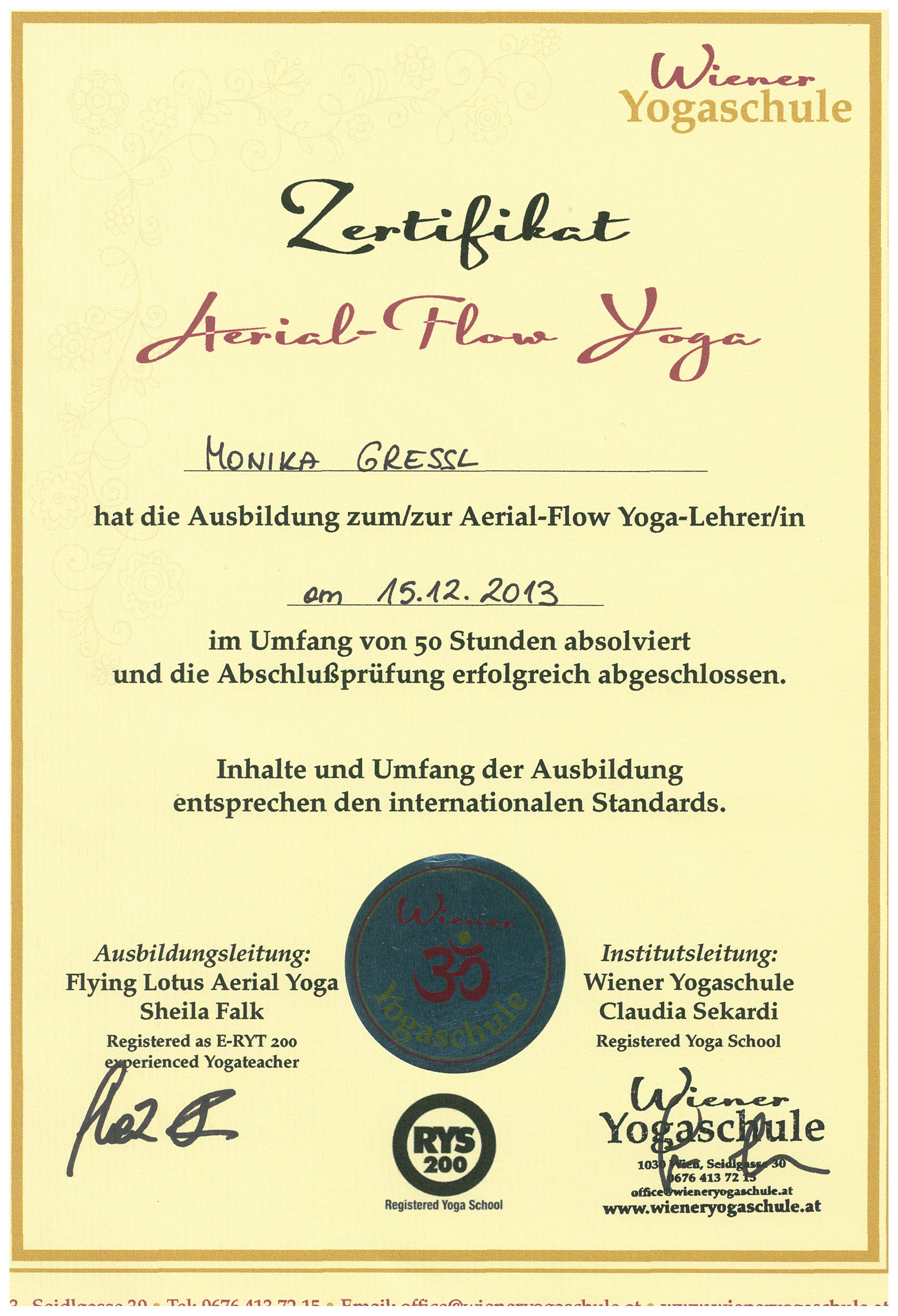 Diplom Aerial Flow Yoga