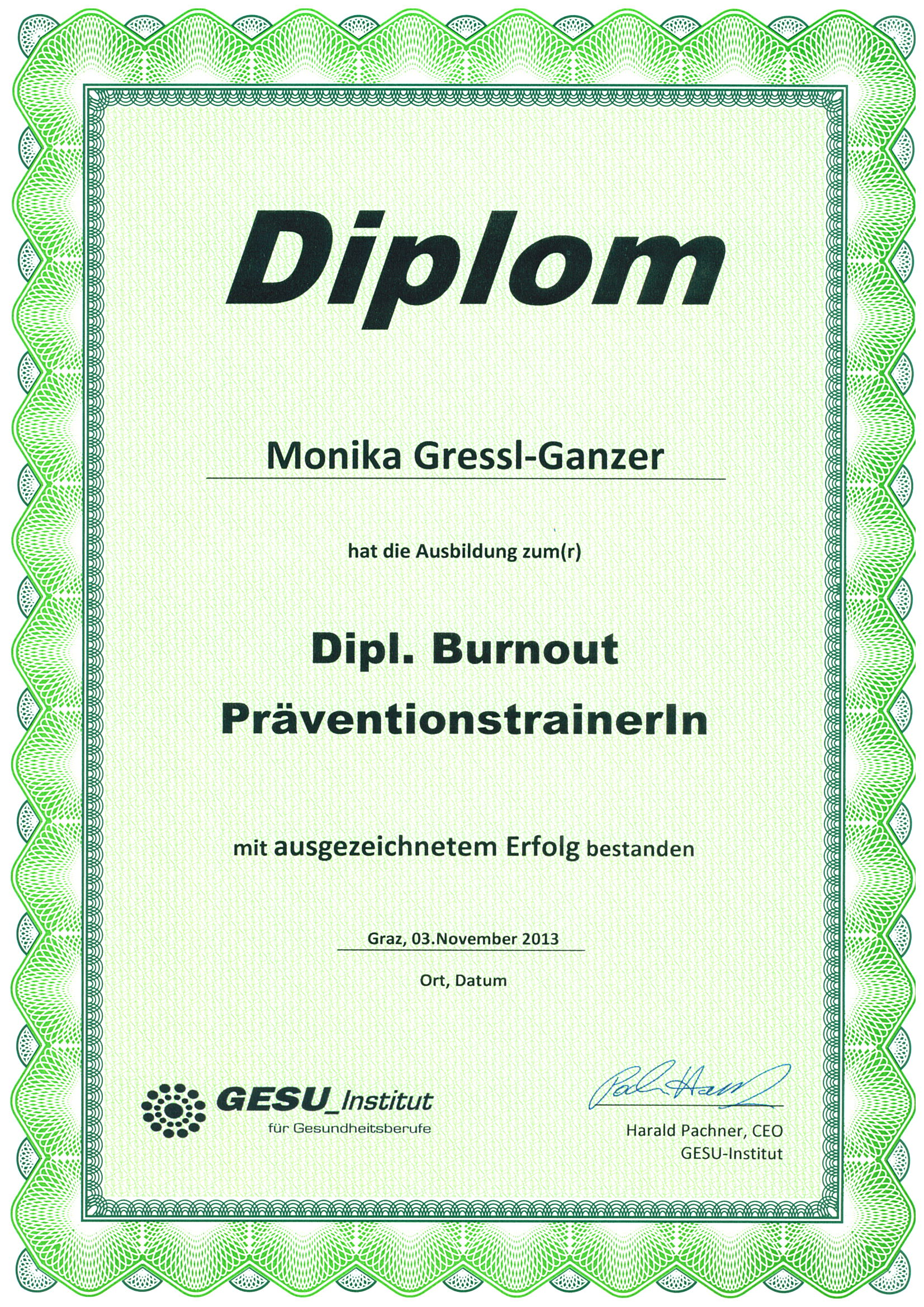 Diplom Burnout Präventionstrainerin