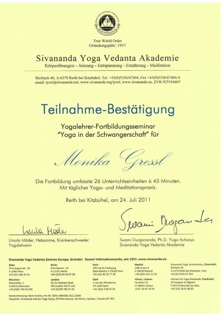 Diplom Schwangeren Yoga